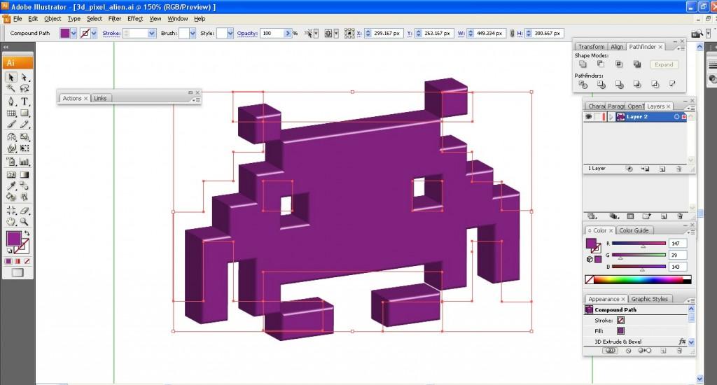 3D rendered pixel alien
