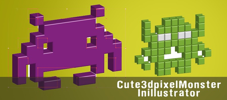 featured-Cute_3d_pixel_Monster_In illustrator