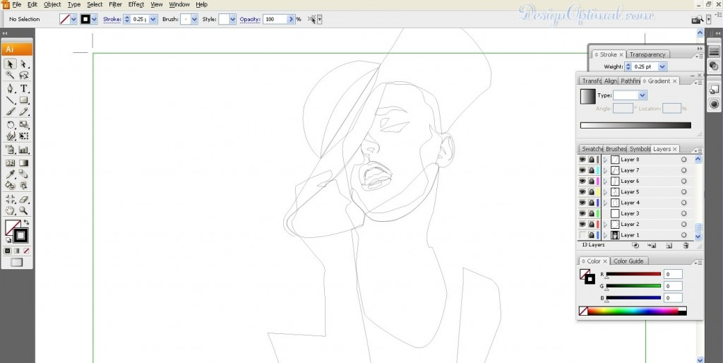 Tracing the face (click to zoom image)