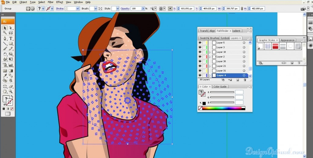 Adding the halftone patterns to the body area of the girl 02 (click to zoom image)