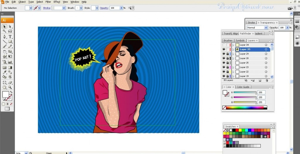 Adding the talk bubble and adjustments of the background 02 (click to zoom image)