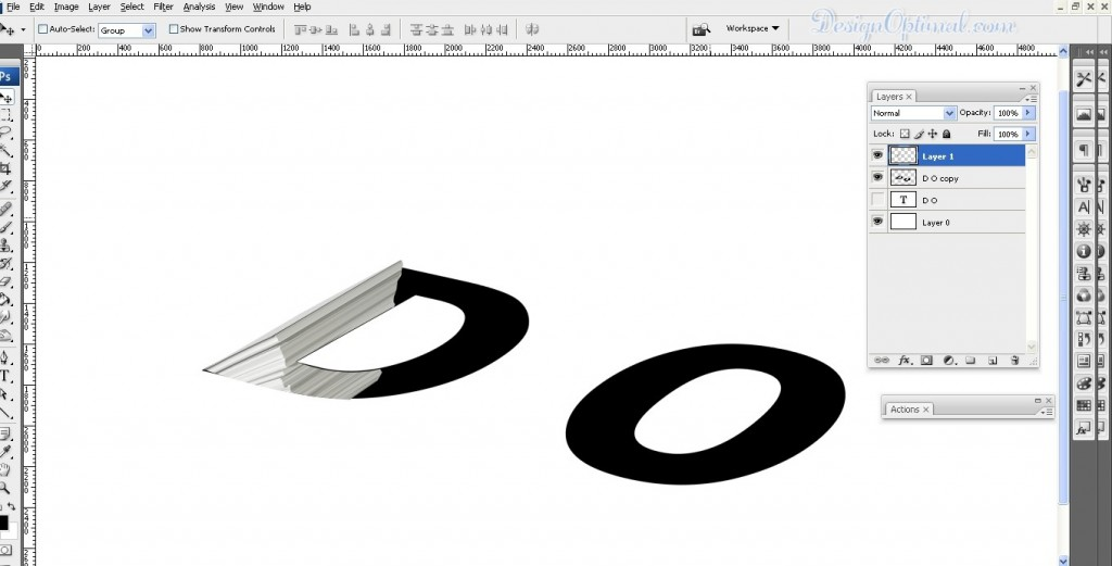 selecting and removing parts of the paper stack image out of the letter D contour (click to zoom image)