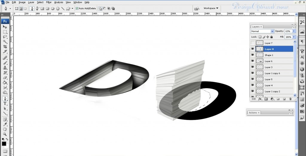 adding the lave texture to letter O (click to zoom image)