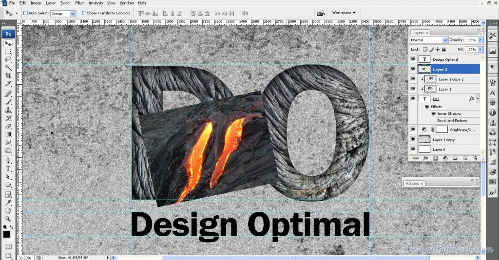 SCREEN_05 – adding the lava texture to letter D (click to zoom image)