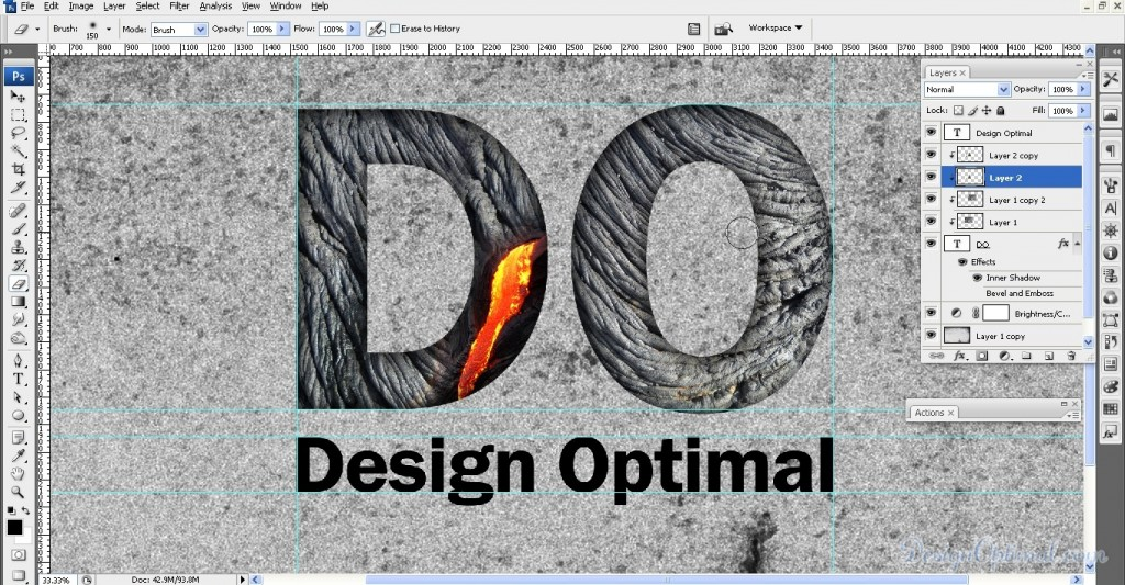 SCREEN_06 – adding the lava texture to letter D (click to zoom image)