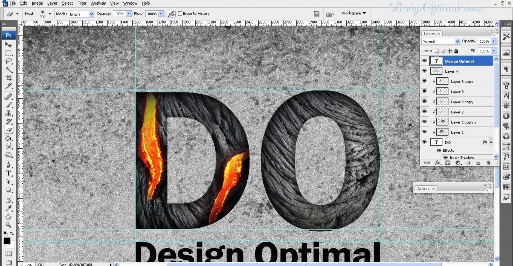 SCREEN_07 – adding the lava texture to letter D (click to zoom image)