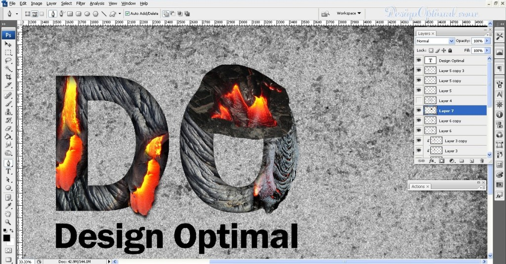 SCREEN_11 adding the lava texture to letter O (click to zoom image)