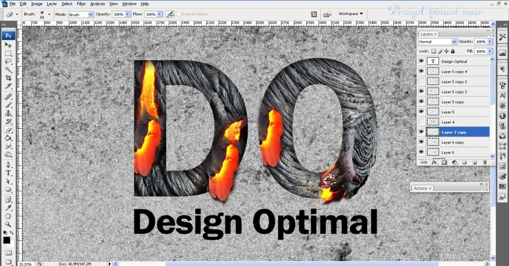 SCREEN_12 adding the lava texture to letter O (click to zoom image)