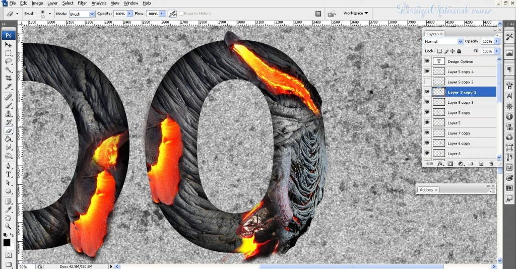 SCREEN_13 adding the lava texture to letter O (click to zoom image)