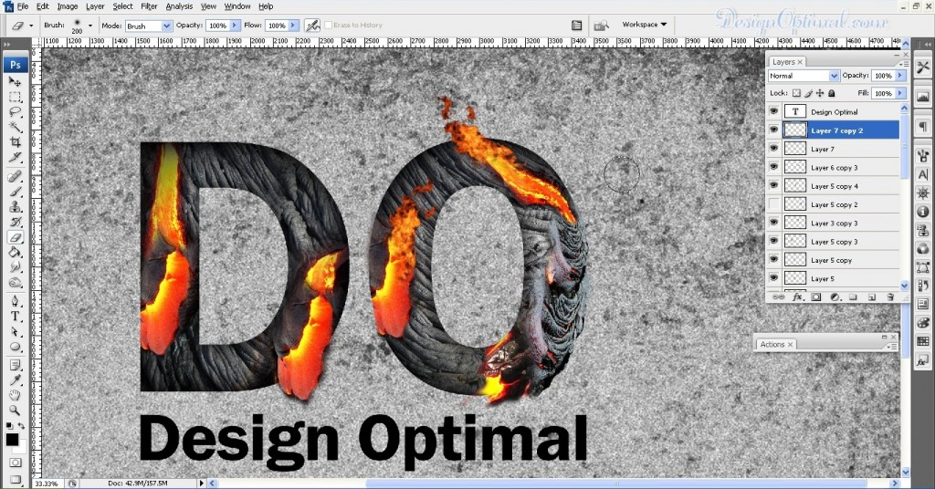 SCREEN_16 adding the flames to the letters (click to zoom image)