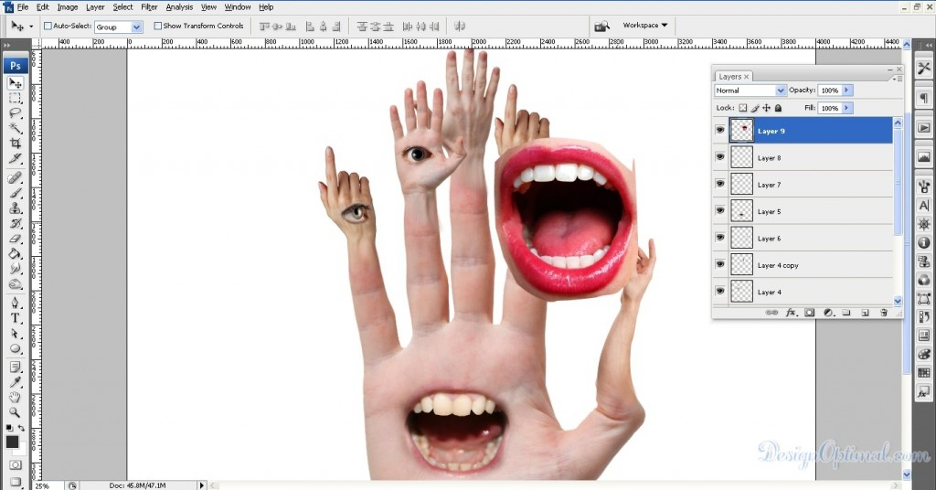Adding mouth to the middle hand 01 (click to zoom image)