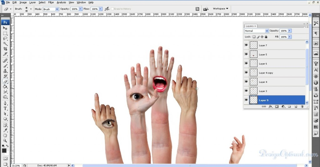 Adding mouth to the middle hand 03 (click to zoom image)