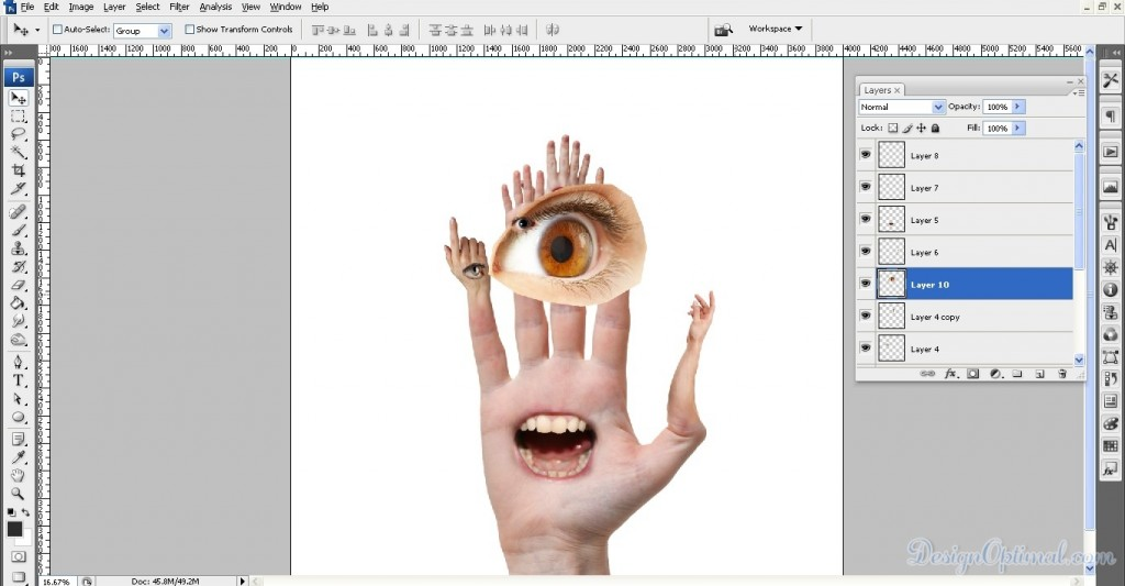 Adding the next eye to the hand, flip it, and positioning it 01 (click to zoom image)