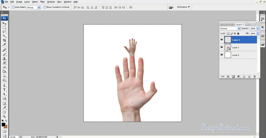 Adding the first hand (click to zoom image)