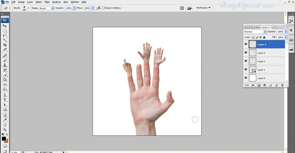 Adding the more hands to the arm (click to zoom image)