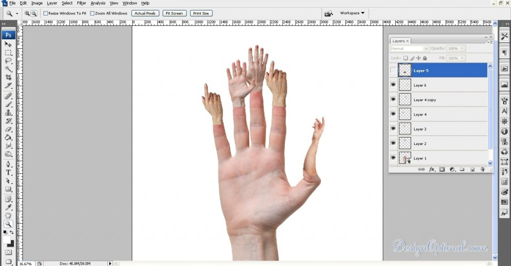 Adding the arm to the thumb (click to zoom image)