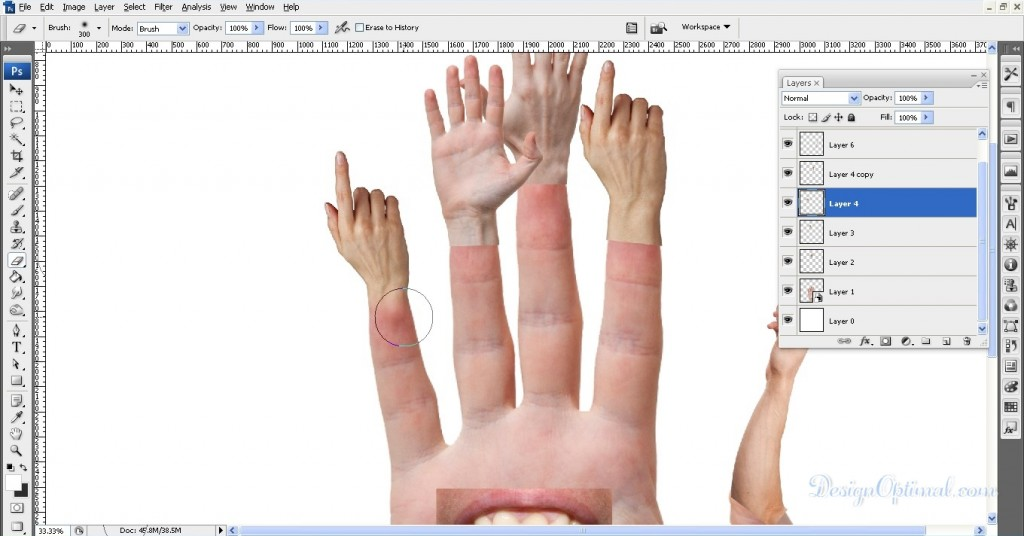 Erasing the bottom parts of the added hands to the main hand 02 (click to zoom image)