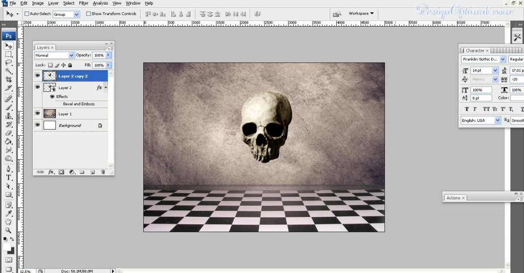 Re-sizing the skull (click to zoom image)