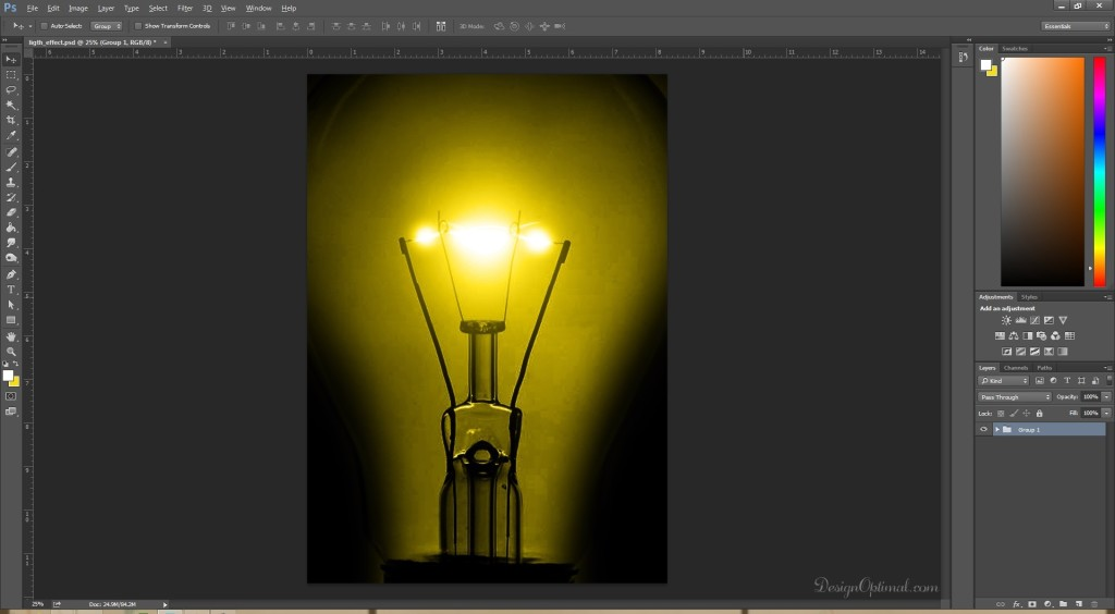 erasing around the bulb area (click to zoom image)