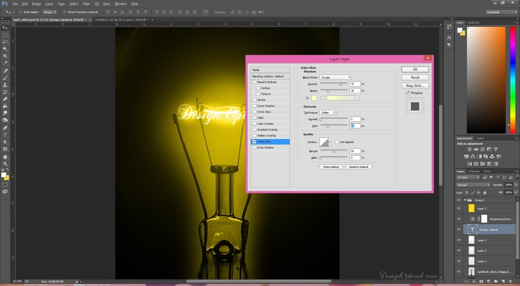adding the outer glow (click to zoom image)