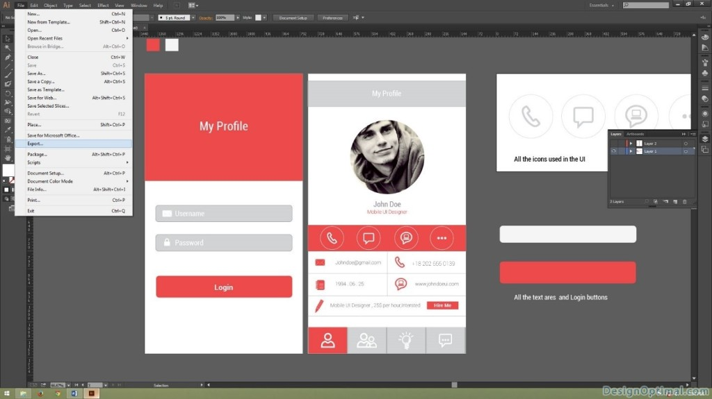 exporting the Mobile UI artwork in to a Folder 01