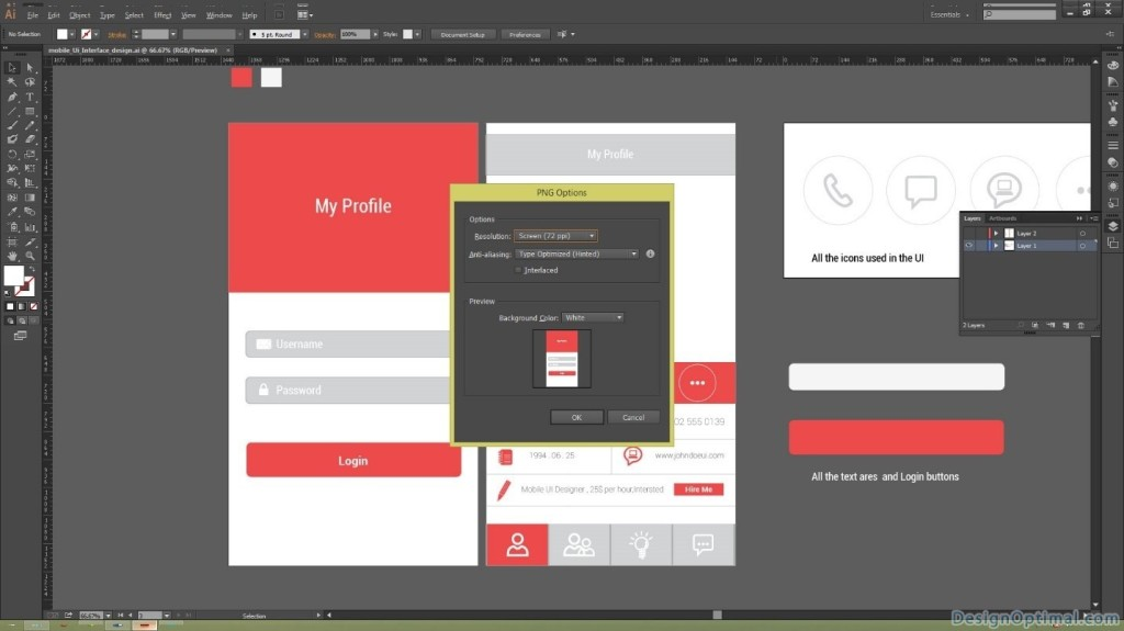 exporting the Mobile UI artwork in to a Folder 03