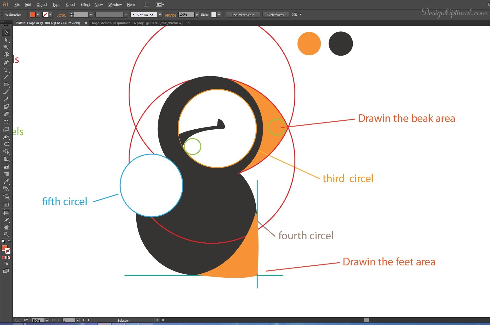 how to create a cool and simple puffin logo using adobe