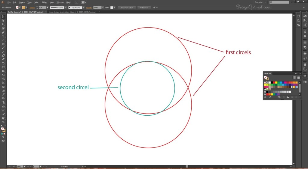 creating the circles for the head area of the logo