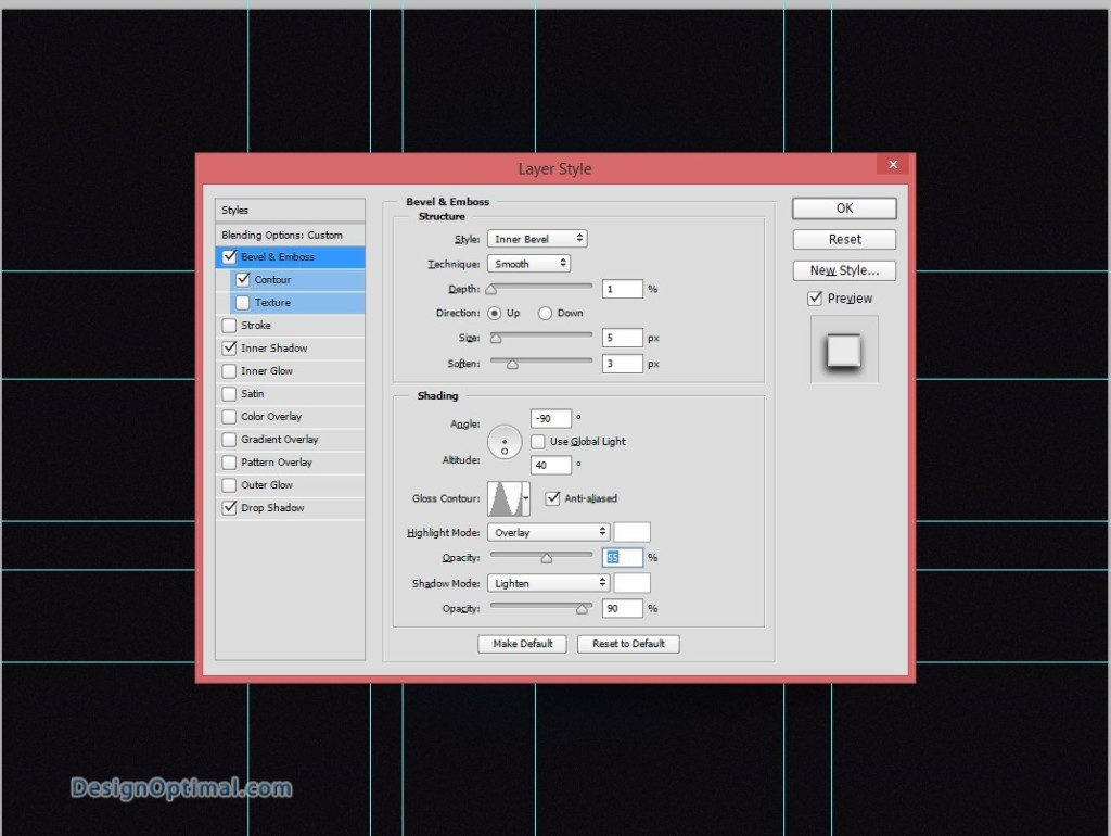 14.2 bevel and emboss effect parameters
