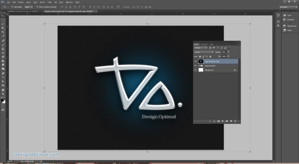 Design a Chrome Effect in Photoshop steps - 9.3