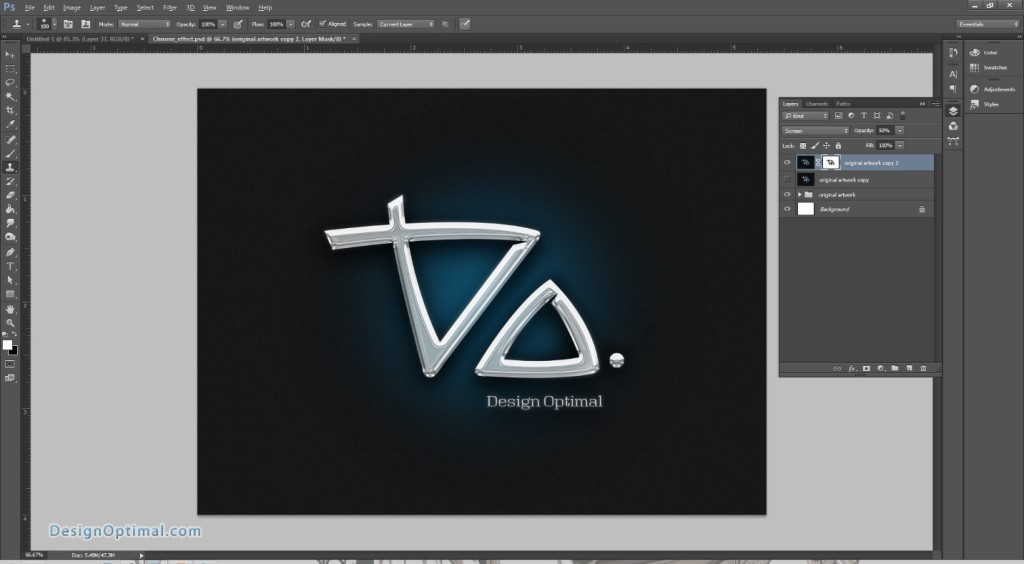 Design a Chrome Effect in Photoshop steps - 9.4