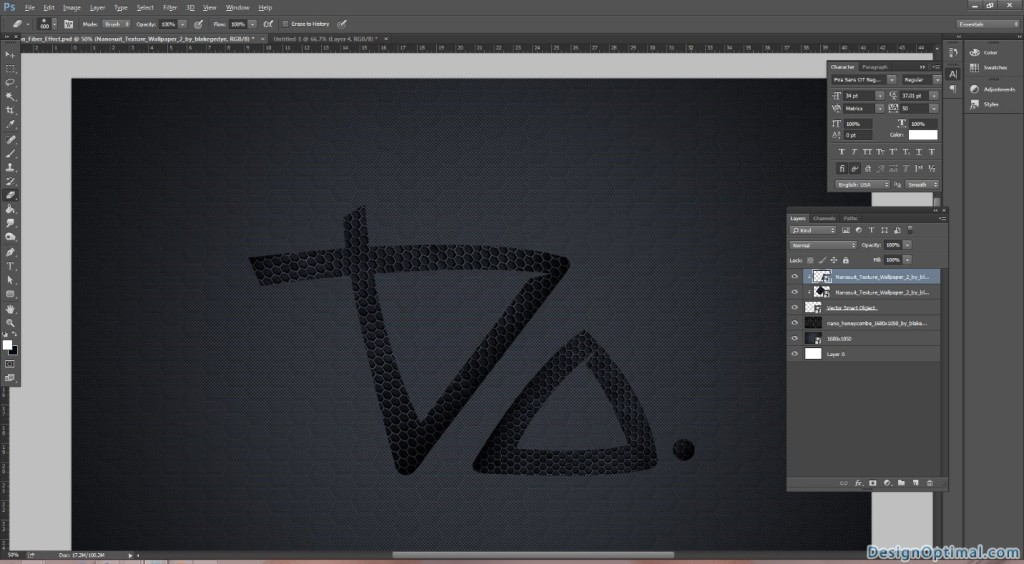 5.2 Adding the carbon fiber texture to the Do logo
