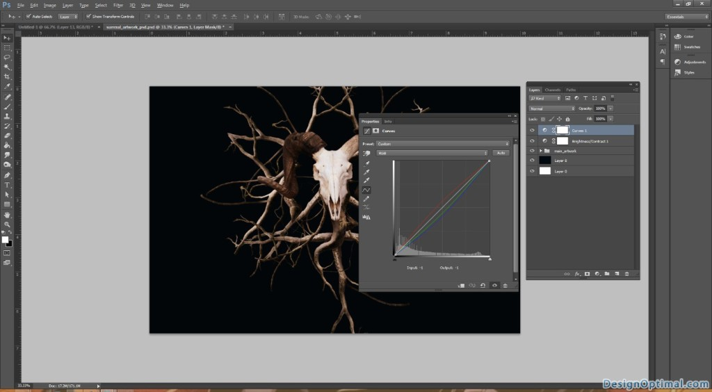 4.2 Adding the brightness contrast layer and curves layer